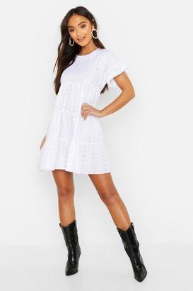 edf2123cc7d4 boohoo Petite Broderie Anglaise Smock Dress