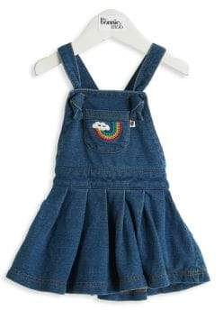 Baby Girl's Diva Embroidered Pinafore Denim Dress
