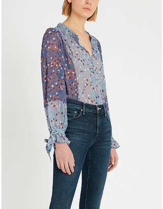 Paige Dorothy floral-print frill-trimmed silk blouse