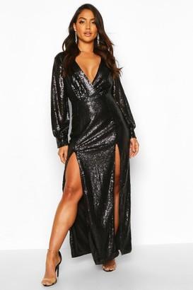 boohoo Sequin Wrap Double Split Maxi Dress