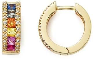 Bloomingdale's Multi Sapphire and Diamond Hoop Earrings in 14K Yellow Gold - 100% Exclusive