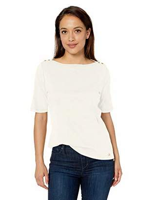 Calvin Klein Women's Half Sleeve Top with Boat Neck