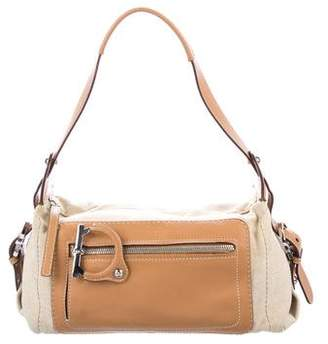 Salvatore Ferragamo Leather-Trimmed Canvas Bag