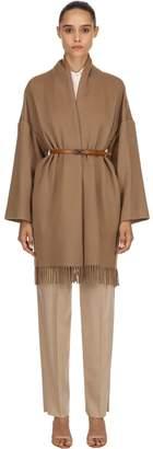 Salvatore Ferragamo Cashmere Cloth Fringed Coat W/ Belt