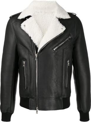 Balmain shearling lined biker jacket