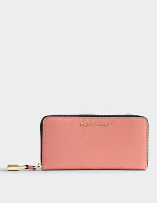 Marc Jacobs The Grind Standard Continental Wallet in Coral Cow Leather