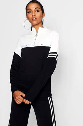 boohoo Tall Priya Tonal Popper Stripe Track Top