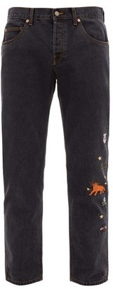 Gucci Embroidered Straight Leg Jeans - Mens - Black