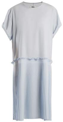 MM6 MAISON MARGIELA Knife Pleated Crepe Cady Dress - Womens - Light Blue