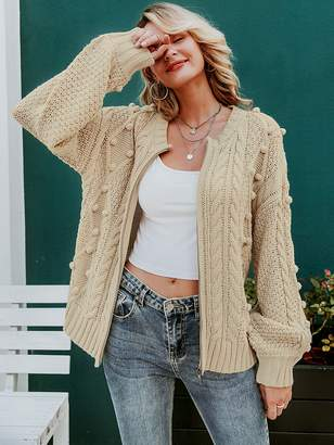 Shein Simplee Pompom Detail Cable Knit Sweater Cardigan
