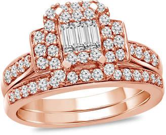 Zales 3/4 CT. T.W. Composite Diamond Rectangle Frame Collar Bridal Set in 10K Rose Gold
