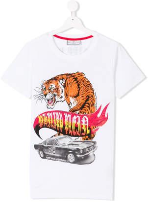 Philipp Plein Junior embellished tiger and car print T-shirt