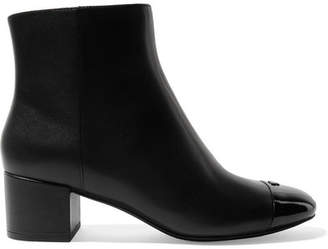 Tory Burch Shelby Patent-trimmed Leather Ankle Boots