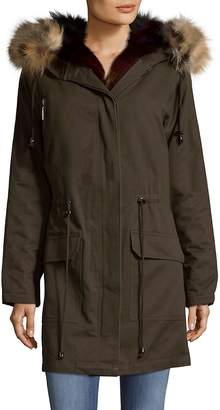 Annabelle New York Women's Hooded Cotton Fox Fur Parka With Vest Insert