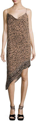 Haute Hippie Sahara Cowl-Neck Asymmetric-Hem Leopard-Burnout Velvet Dress