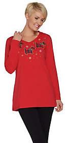 Quacker Factory Long Sleeve Plaid Tartan KnitTunic with Hood