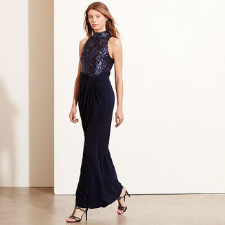 Ralph Lauren Sequined-Bodice Jersey Gown $240 thestylecure.com
