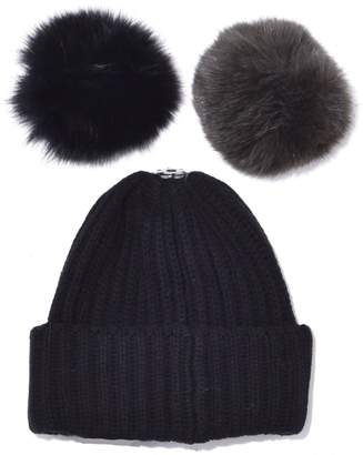 Yves Salomon Knit Hat with Pompon in Noir