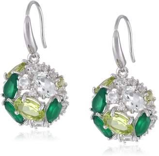 Kenneth Jay Lane Fine Jewelry Sterling Silver and Topaz Orbital Drop Earrings