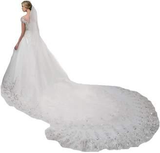 Sunnygirls 4 Meters Long Wedding Veils Ivory Sequins Tulle Bridal Veil