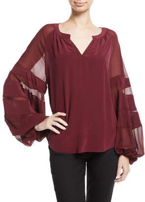 7 For All Mankind Paneled Blouson-Sleeve Silk Top