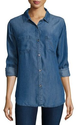 Rails Carter Button-Front Chambray Shirt, Dark Vintage $148 thestylecure.com