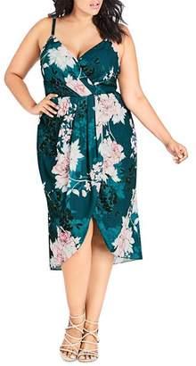 City Chic Plus Jade Blossom Faux-Wrap Dress
