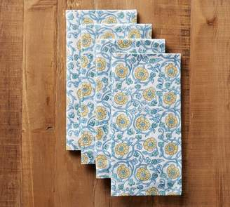 Pottery Barn Block Print Winding Floral Napkin - Blue/Yellow