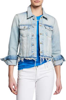 Off-White Off White Distressed-Hem Denim Jacket