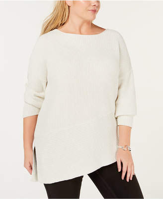 525 America Plus Size Cotton Asymmetrical Hem Sweater