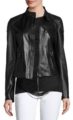Ralph Lauren Collection Studded Woven-Patch Leather Moto Jacket, Black $3,990 thestylecure.com