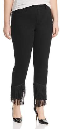 Seven7 Jeans Plus Fringe-Hem Slim Straight-Leg Jeans in Virtual