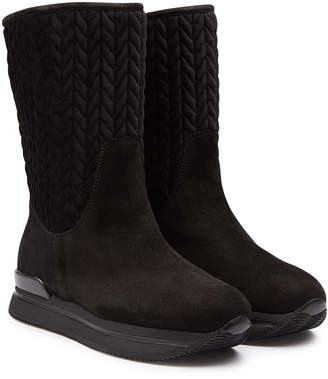 Hogan New Winter Suede Boots with Velvet
