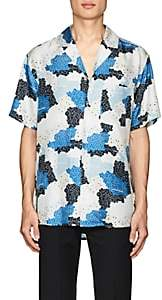 Off-White MEN'S FLORAL & CAMOUFLAGE SILK SHIRT-NAVY SIZE XS