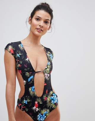 Revel Rey Reversible Cut Out Plunge Front Swimsuit