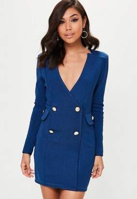 Missguided Premium Blue Bandage Denim Effect Blazer Dress