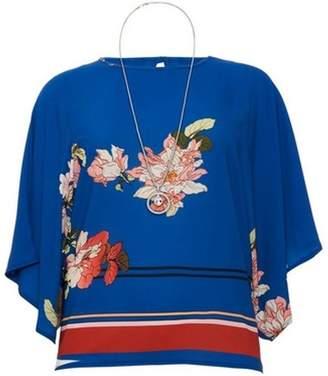 Dorothy Perkins Womens *Quiz Blue Floral Floral Print Necklace Top