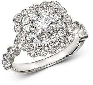Bloomingdale's Diamond Milgrain Halo Cocktail Ring in 14K White Gold, 0.85 ct. t.w. - 100% Exclusive
