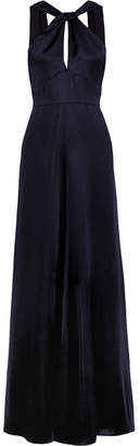 Temperley London Aviator Open-back Satin Gown - Navy