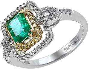 Effy Women's Brasilica 14Kt. Yellow and White Gold Emerald Diamond Ring - Silver-green, Size 7