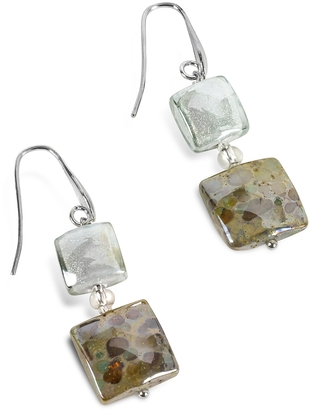 Antica Murrina Atelier Byzantium - Grey Murano Glass & Silver Leaf Dangling Earrings $92 thestylecure.com