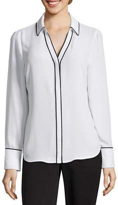 WORTHINGTON Worthington Modern Fit Long Sleeve Button-Front Shirt