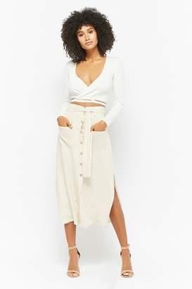 Forever 21 Slit Button-Front Midi Skirt