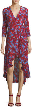 Alexis Loma High-Low Floral-Print Silk Wrap Dress