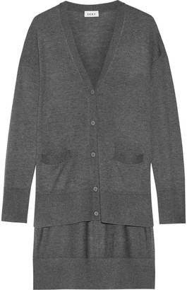 DKNY - Asymmetric Stretch-knit Cardigan - Charcoal $280 thestylecure.com