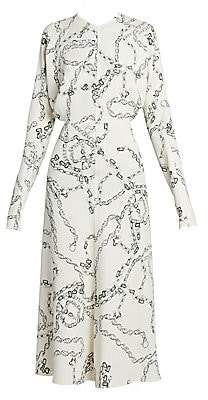 Victoria Beckham Women's Chain-Print Crepe Midi Dress