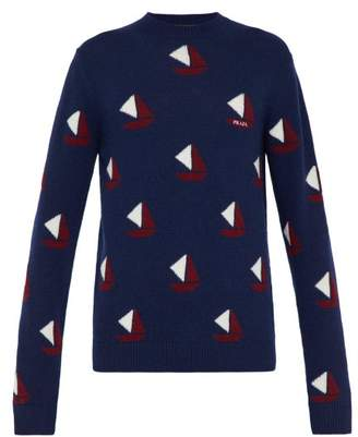 Prada Sailboat Intarsia Wool Blend Sweater - Mens - Blue