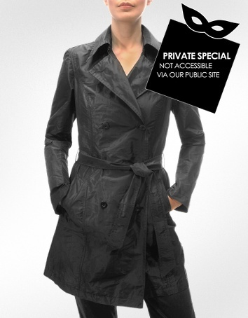 Julia Cocco' Women's Black Lightweight Belted Trench Coat