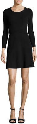 BA&SH Kilim Round-Neck Long-Sleeve Rib-Knit Mini Dress