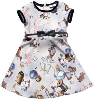MonnaLisa Cinderella Print Crepe Stretch Dress